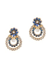 Blue  Embellished Drop Earrings - By