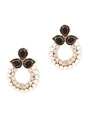 Black  Embellished Drop Earrings - By
