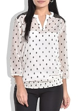 White And Black Polygeorgette Printed Top - By