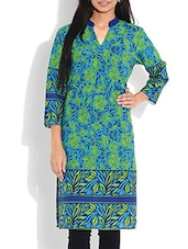 Blue And Green Printed Cotton Kurta - By