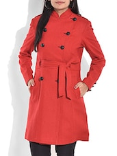 Solid Red Woollen Double Breasted Coat - By