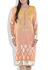 Yellow And Peach Printed Poly Net Kurta - By