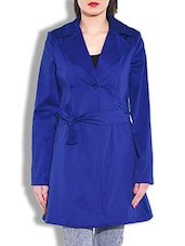 Royal Blue Full Sleeved Long Jacket - By