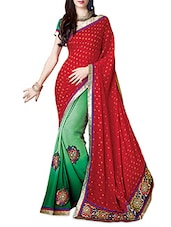 Red Faux Georgette Embroidered Saree - By