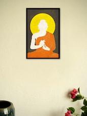 Buddha Orange Drape Silhouette Framed Poster - Seven Rays
