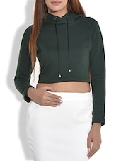 DARK GREEN HOODED CROPPED COTTON KNIT SWEATSHIRT - By