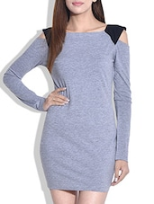 Grey Cotton Jersey Dress With Cutout Sleeves - By