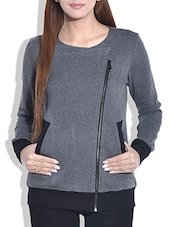 Grey Cotton Knit Full Sleeved Jacket - By