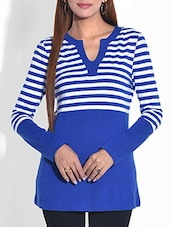 Royal Blue Striped Cotton Knit Top - By
