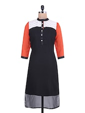 Black Quarter Sleeved Georgette Kurta - By