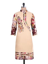 Beige Printed Quarter Sleeved Cotton Kurti - By