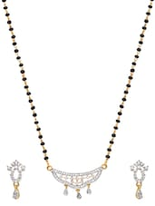 Embellished Gold Plated Mangalsutra And Earrings Set - By - 9653676