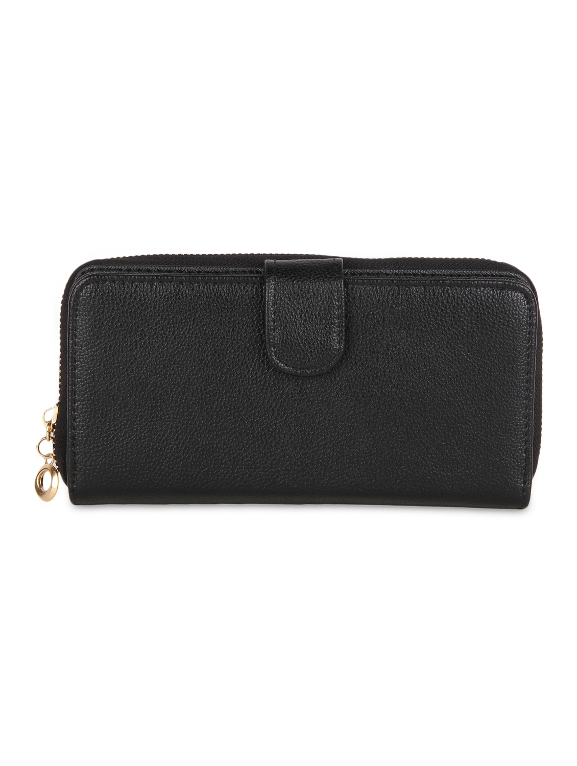 Solid Black Leatherette Textured Clutch - By