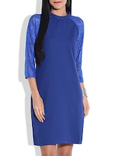 Royal Blue Dress With Lacy Sleeves - By