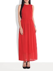 Solid Red Sleeveless Maxi Dress - By