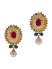 Gold Stone Embellished Pearl Drop Earrings - By - 9654174