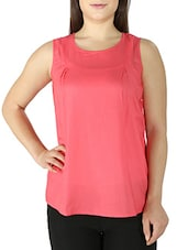 Pink Sleeveless Dobby Tunic With Back Slit - By