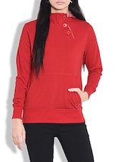 Red Cotton Knit Fleece Hooded Sweatshirt - By