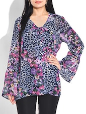 MULTICOLORED ANIMAL PRINT POLY GEORGETTE  TOP -  online shopping for Tops