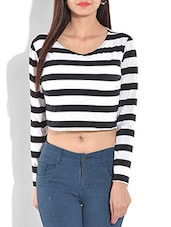 monochromatic striped crop top -  online shopping for Tops