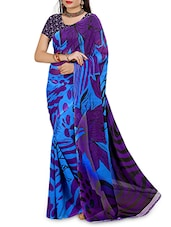 Purple N Blue Faux Georgette Printed Saree - By