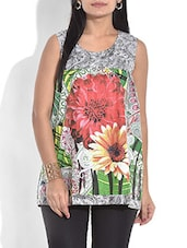 Green Floral Printed Sleeveless Cotton Tunic - By