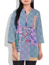 Multicolored Printed Quarter Sleeved Cotton Tunic - By