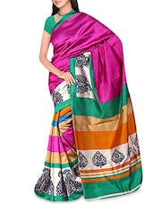 Multicoloured Raw Silk Printed Saree - By