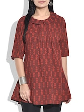Red And Brown Print Cotton Kurta - By