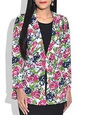 Multicolored Floral Printed Rayon Jacket - By