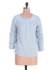 Light Blue Pleated Full Sleeved Georgette Top - By