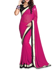 Pink Chiffon Patch Worked Saree - By