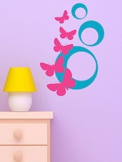 Abstract Butterfly In Pink And Blue Wall Decal - Chipakk