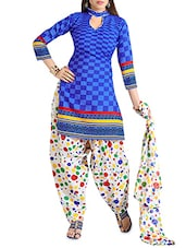 Blue Cotton Printed Unstitched Suit Set - By