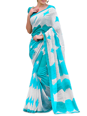 Blue Poly Cotton Printed Saree - By