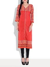 Red Chevron Printed Cotton Kurta - By