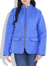 Solid Blue Quilted Jacket - By