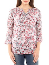 Grey Viscose Printed Top - By