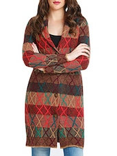 Brown Jacquard Acrylic Woolen Coat - By