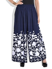 Navy Blue Floral Print Skirt - By