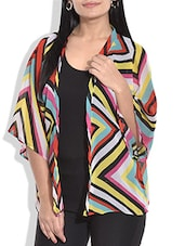 Multicolored Chevron Printed Georgette Shrug - By
