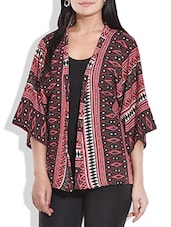 Maroon Abstract Printed Georgette Shrug - By