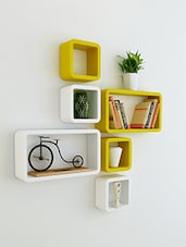 Set Of 6 Solid Yellow And White Wall Shelves - By