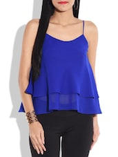 Blue Sleeveless Layered Top - By