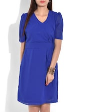 Blue V Neck Knee Length Dress - By
