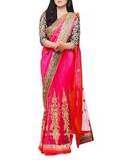 Pink Embroidered And Embellished Net Saree - By