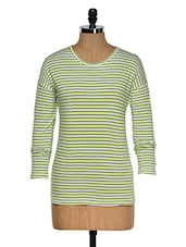 Green And White Color Stripped Round Neck T-shirt - Hypernation
