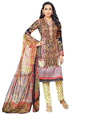Multicolored Printed Semi-stitched Suit Set - By