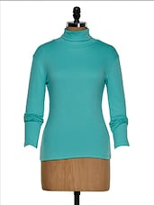 Turquoise Color Full Sleeves Casual High Neck T-shirt - Hypernation