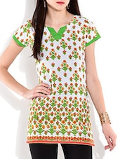 Off White N Green Printed Cotton Tunic - By